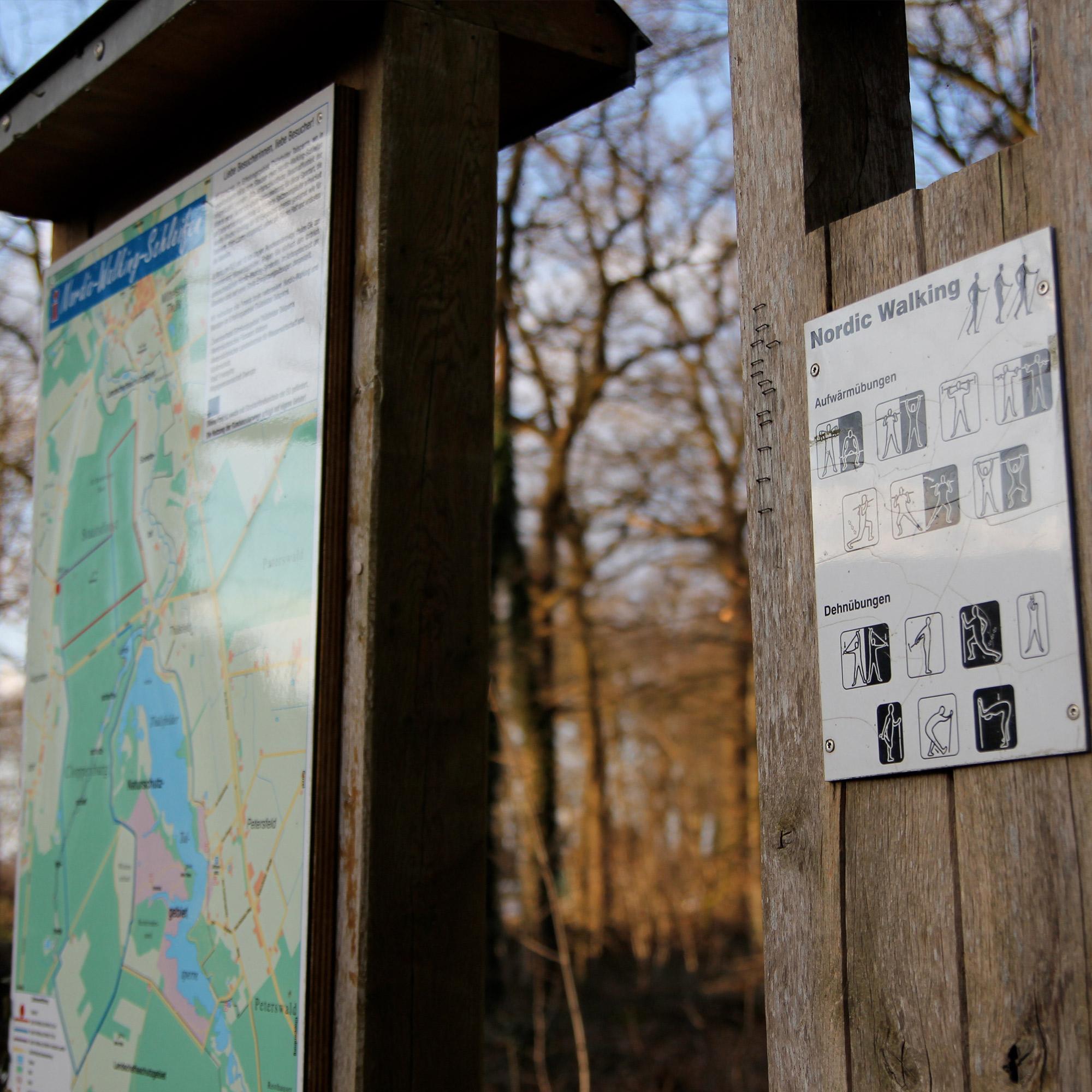 Nicht weit des Waldgasthof Schönings finden Sie eine offizielle Nordic-Walking-Strecke.
